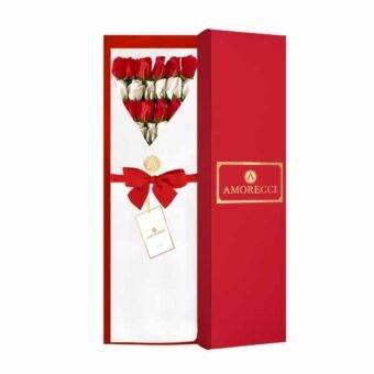 Caja roja rosas blancas y rojas Amorecci