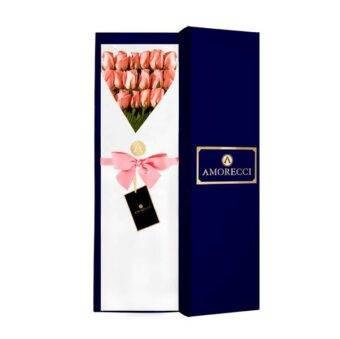 caja azul con rosasa rosadas Amorecci