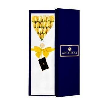 rosas amarillas en caja azul amorecci