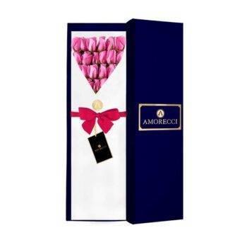 rosas fucsias en caja azul Amorecci