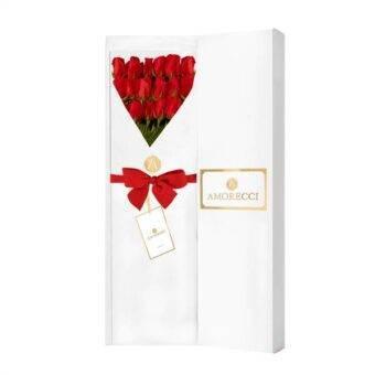 Rosas rojas en caja blanca Amorecci