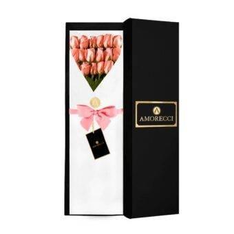 Caja negra elegante con rosas Amorecci