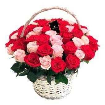 Rosas rojas y rosadas canasta Amorecci