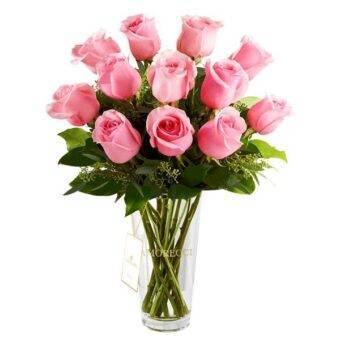 Rosas rosadas en vidrio Amorecci