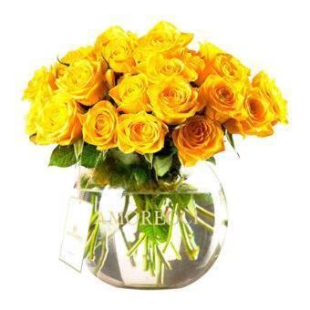 Florero vidrio rosas amarillas