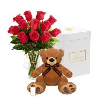 oso romeo con rosas rojas Amorecci