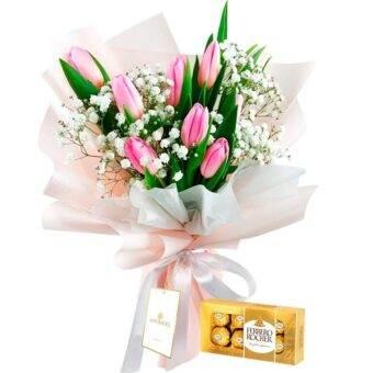 Tulipanes y chocolates Amorecci