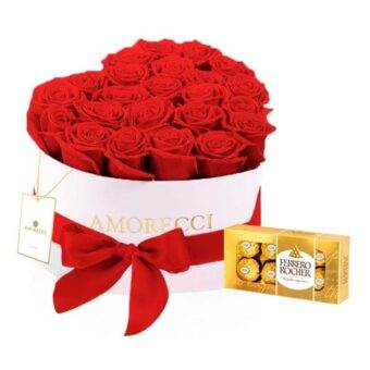 chocolates y corazon de rosas