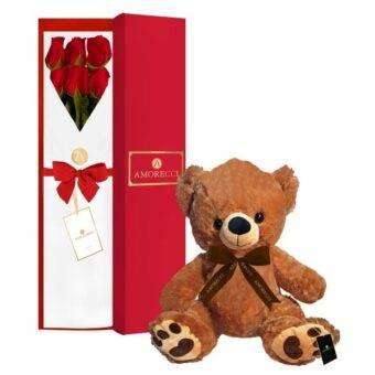 Romeo oso peluche y rosas